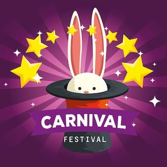 Animale selvatico del coniglio dentro il cappello con le stelle alla celebrazione di carnevale