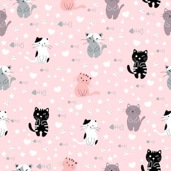 Animale senza cuciture del modello del fumetto sveglio del gatto