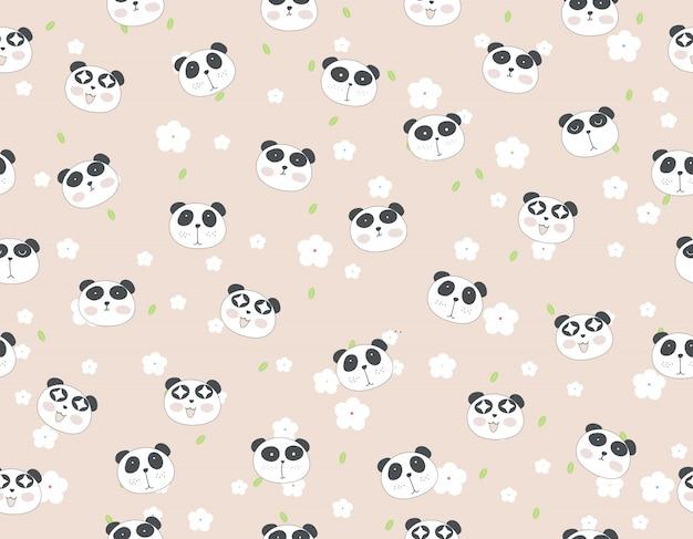 Animale senza cuciture del modello del fumetto sveglio del panda con il fiore