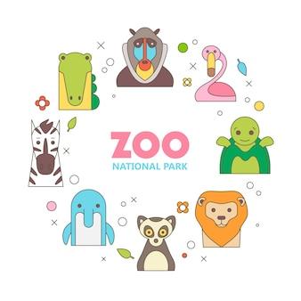 Animale set di ritratto in grafica piatta.