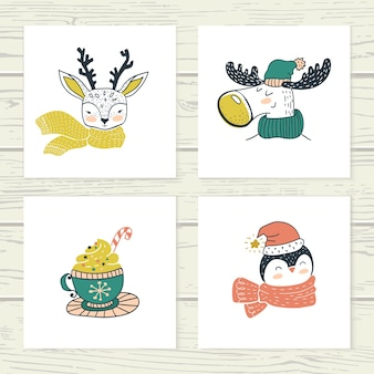 Animale simpatico doodle. carte invernali disegnate a mano