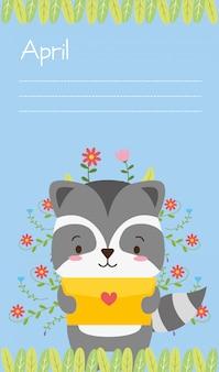 Animale sveglio con lettera d'amore, stile piano e cartone animato, illustrazione