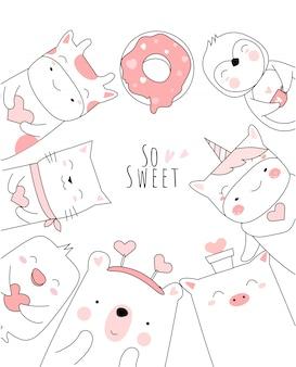 Animale sveglio del bambino con stile disegnato a mano del fumetto del cuore