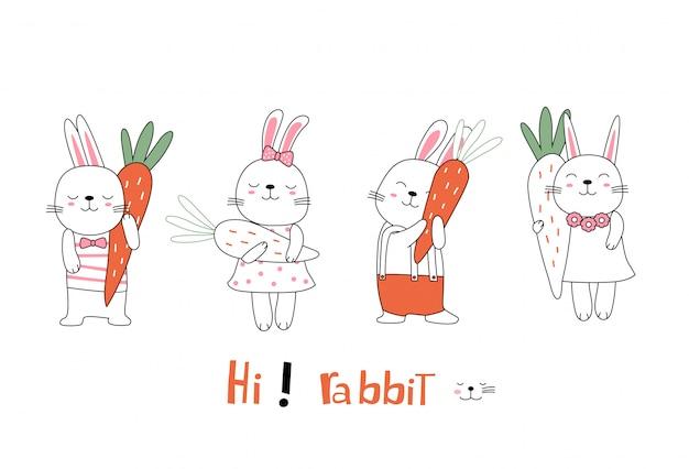 Animale sveglio del coniglio del bambino di posizione di schizzo del fumetto con la carota