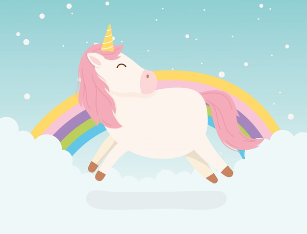 Animale sveglio del fumetto di fantasia arcobaleno di capelli arcobaleno decorazione unicorno rosa