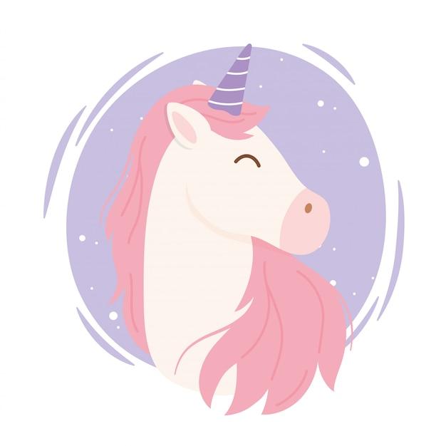 Animale sveglio del fumetto di fantasia magica dei capelli rosa dell'unicorno