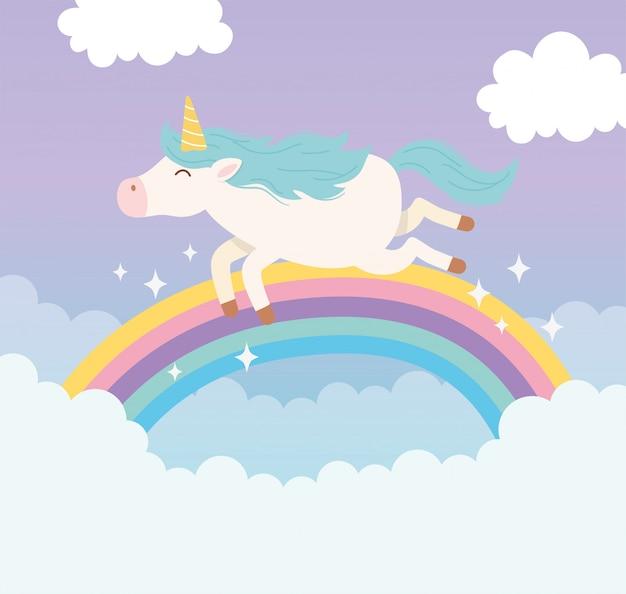 Animale sveglio del fumetto di fantasia magica delle nuvole dell'arcobaleno di volo dell'unicorno