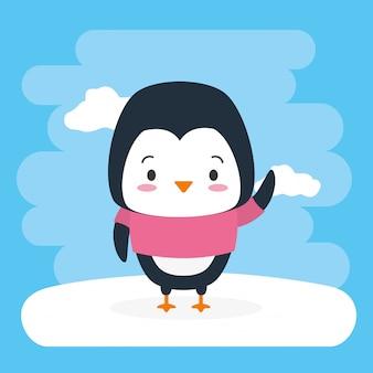 Animale sveglio del pinguino, fumetto e stile piano, illustrazione