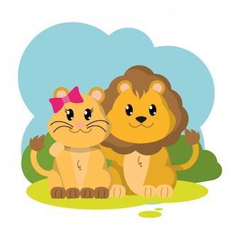 Animale sveglio delle coppie variopinte del leone nel paesaggio
