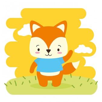 Animale sveglio di fox, fumetto e stile piano, illustrazione