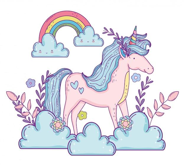 Animale unicorno con rami foglie e nuvole