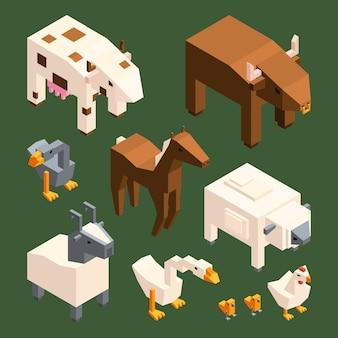 Animali 3d poli bassi. animali da fattoria isometrica isolare