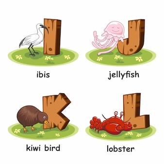 Animali alfabeto in legno