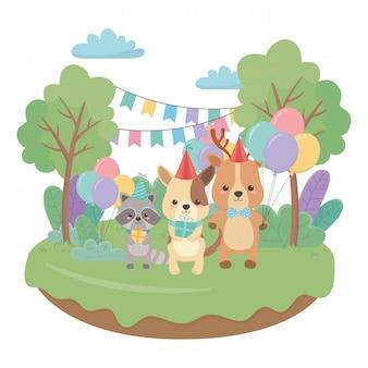 Animali cartoni animati con buon compleanno