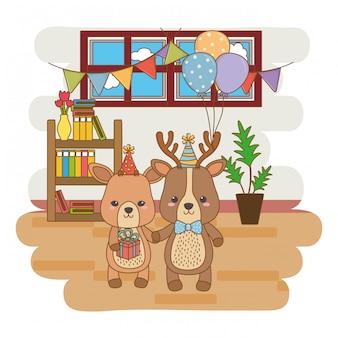 Animali cartoni animati con regalo di buon compleanno