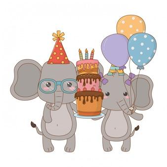 Animali cartoni animati con torta di buon compleanno