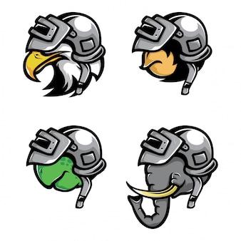 Animali che indossano il vettore del casco di guerra