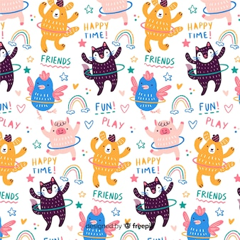 Animali colorati doodle con hula hoop e pattern di parole