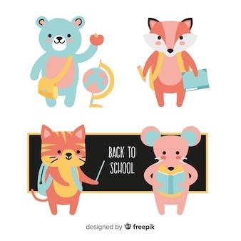 Animali con elementi scolastici intorno alla collezione