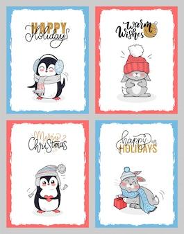 Animali d'inverno in panno caldo, carte buone feste