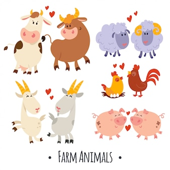 Animali da fattoria carino vettoriale: maiale, pecora, mucca, capra, gallina, gallo