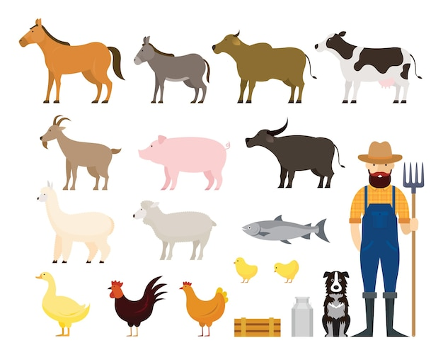 Animali da fattoria con contadino e cane
