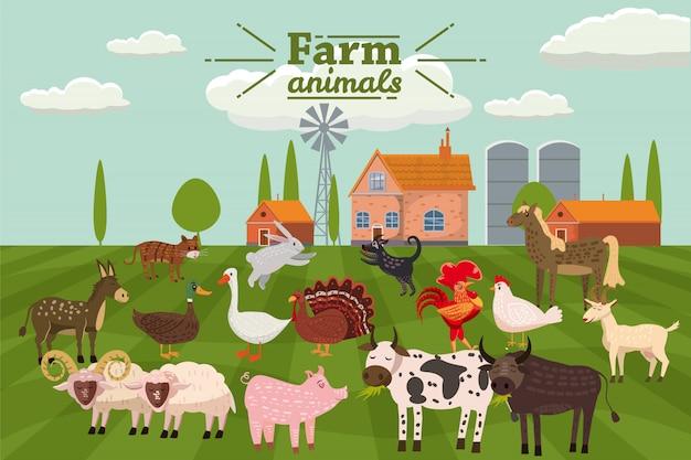 Animali da fattoria e uccelli incastonati in uno stile carino e alla moda