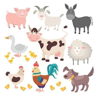 Animali da fattoria. insieme isolato animale dei bambini del fumetto del cane del gallo dell'oca delle pecore della mucca dell'asino del maiale
