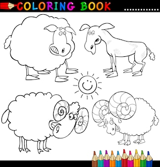 Animali da fattoria per libro da colorare o pagina