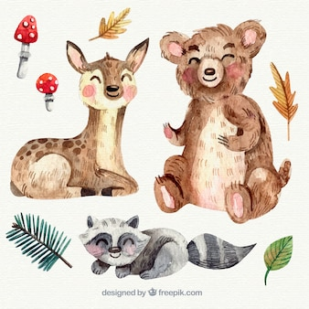 Animali da smiley acquerello con funghi e foglie