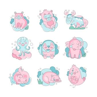 Animali del bambino sveglio e divertente del fumetto che dorme insieme, sogni d'oro concetto illustrazione su sfondo bianco