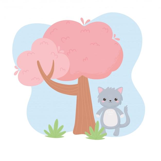 Animali del fumetto del cespuglio sveglio dell'albero di gatto grigio in un'illustrazione di vettore del paesaggio naturale
