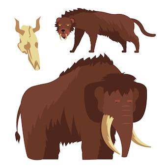 Animali dell'età della pietra mammut e illustrazione della tigre dai denti a sciabola