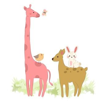 Animali della fauna selvatica che camminano insieme