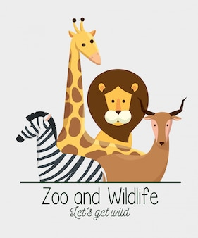 Animali della fauna selvatica con riserva naturale di safari