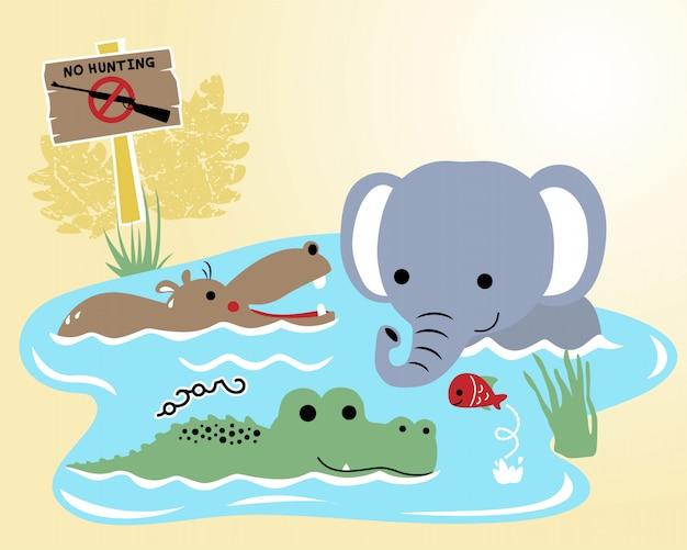 Animali della fauna selvatica del fumetto nella palude