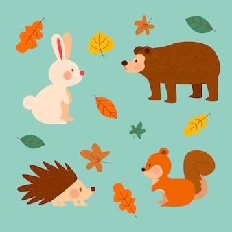 Animali della foresta autunnale piatta