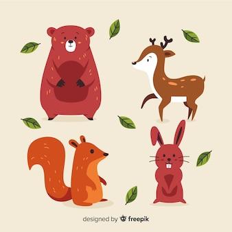 Animali della foresta autunno disegnati a mano