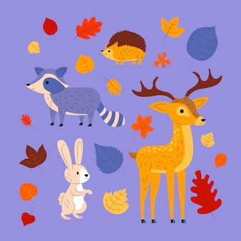 Animali della foresta d'autunno