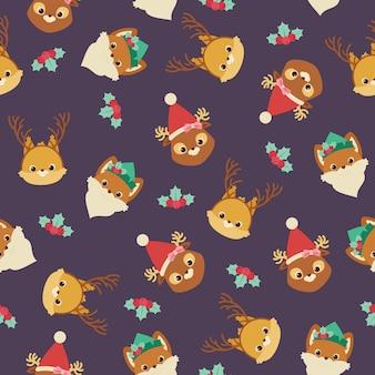 Animali della foresta in cappelli e fasce a tema natalizio.