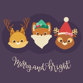 Animali della foresta (scoiattolo, volpe, cervo) in cappelli e cerchietti a tema natalizio