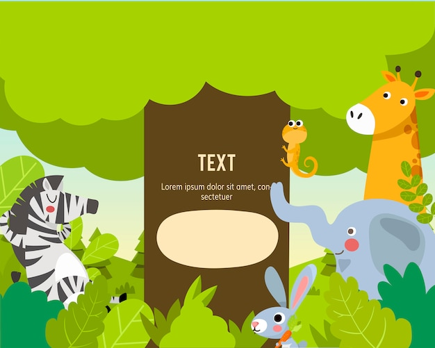 Animali dello zoo con modello di testo