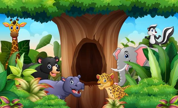 Animali dello zoo sotto il paesaggio di albero cavo