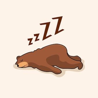 Animali di sonno del fumetto dell'orso pigro