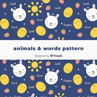 Animali disegnati a mano e pattern di parole