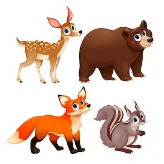 Animali divertenti dei personaggi di legno dei cervi orso bruno volpe e lo scoiattolo del fumetto di vettore isolate