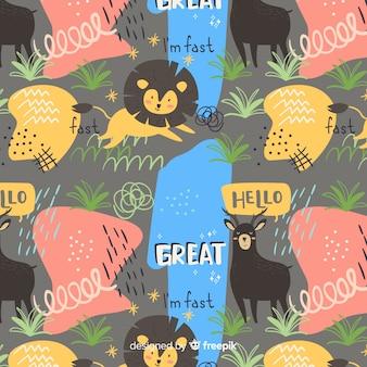 Animali divertenti doodle e pattern di parole