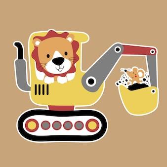 Animali divertenti su attrezzo pesante, vettore cartone animato