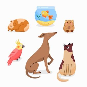 Animali domestici differenti dell'illustrazione piana di progettazione messi