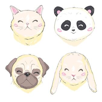 Animali domestici faccia, cane, gatto e coniglio